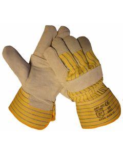 splitlederen handschoen met palmversterking