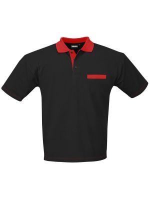 Poloshirt Indushirt PS200 Zwart-Rood